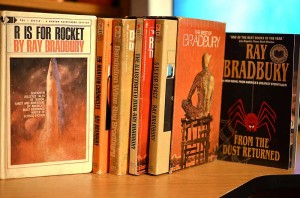 Ray Bradbury books - R is for Rocket, The Martian Chronicles, Dandelion Wine, The Illustrated Man, S is for Space, From the Dust Returned - Photo by Glen Green