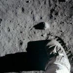 Foot imprinting on the dust of the Moon - Apollo 11, 1969