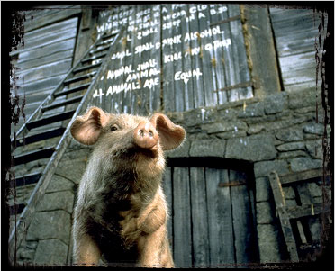 Animal Farm Pig and Barn Wall commandments