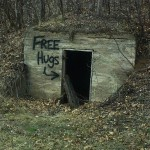 free hugs graffiti abandoned building humor