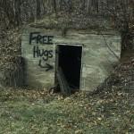 free hugs graffiti abandoned building humor