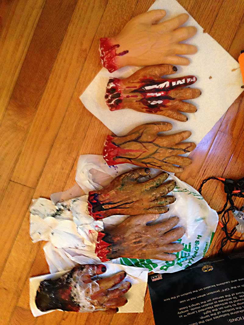 $1 dismembered hands from Dollar Store - jazzed up