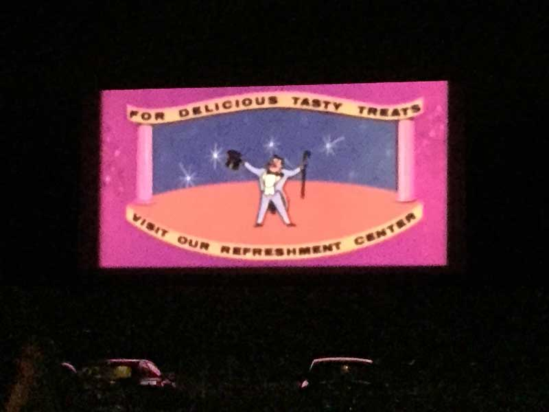 Classic Drive in screen: For Delicious Tasty Treats Visit Our Refreshment Center