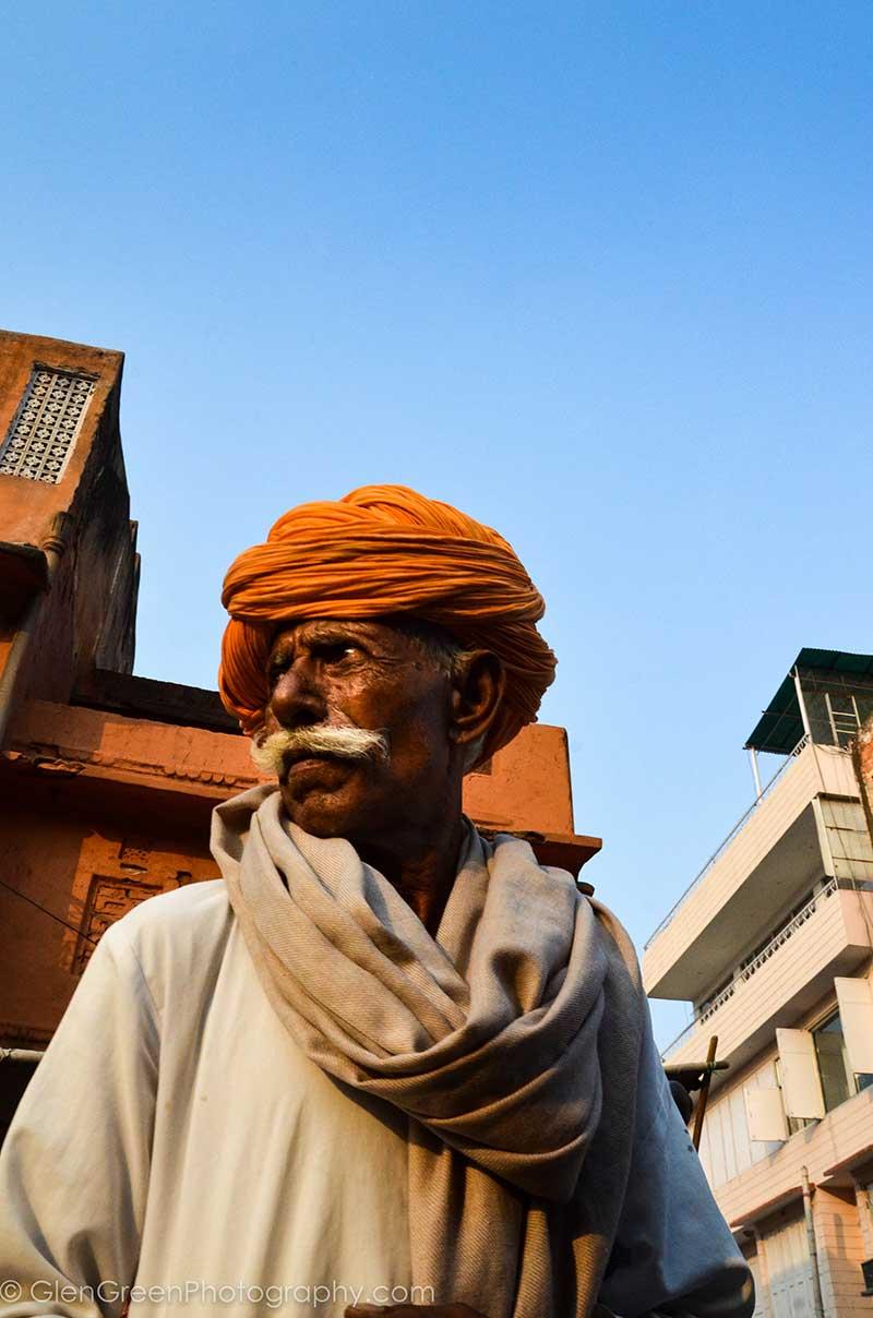 Jaipur India - Older Man with Orange Turban by Glen Green - GlenGreenPhotography.com