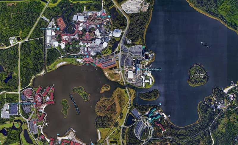A small subset of Disney World's Waterways surrounding the Magic Kingdom