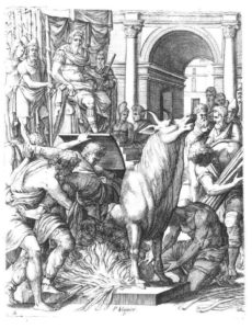 Perillos being forced into the brazen bull that he built for Phalaris.