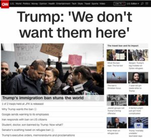 "CNN Headline: Trump, ""We don't want them here"""