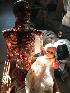 Skeleton corpse with babydoll homemade Halloween prop