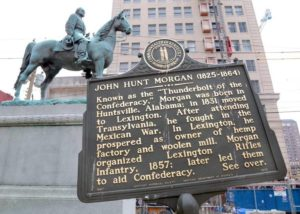 The John Hunt Morgan statue on the lawn of the old Fayette Co. Courthouse on West Main Street in Lexington, Kentucky.