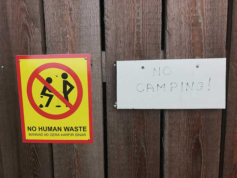 SSteinahellir cave sign Iceland, no camping , no human waste